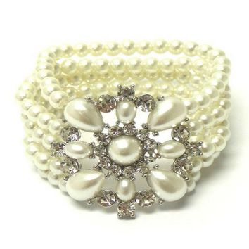 Pearl and Crystal Flower Stretch Bracelet