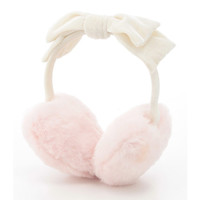 White/Pink Heart Shap Bow tie Soft Valour Earmuffs Warm Solid color Korea Fashion Female Girl Japan Cute Kawaii Women's Earmuffs