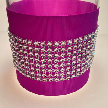 Bling vase centerpiece with faux rhinestones in violet-bling wedding centerpiece-rhinestone centerpiece-wedding candle holder-sparkly vase