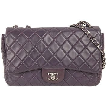 Chanel Purple Quilted Leather Jumbo Classic Single Flap Shoulder Bag