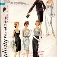 Retro Simplicity 60s Sewing Pattern Fitted Sheath Wiggle Dress Evening Gown Overblouse Low Jewel Neck Bust 32