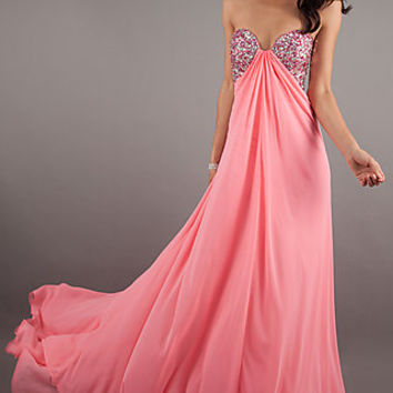 Long Open Back Strapless Gown by Jasz