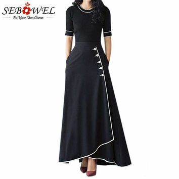Sebowel Black A Line Maxi Skirt High Waist Piped Button Long Skirts Womens Winter Ladies Office Skirt With Pockets