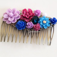 Wedding Hair Accessories Bridal Hair Comb Purple Blue Navy Lilac Floral Collage Flower Headpiece Sapphire Rhinestone Vintage Style Romantic