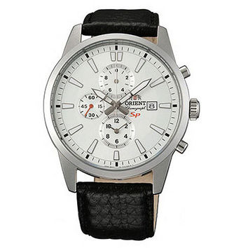 Orient TT12005W Men's SP White Dial Leather Strap Steel Chronograph Watch