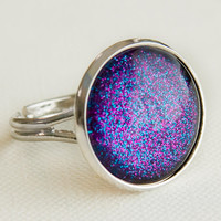 Disco Ring in Silver - Purple & Blue Glitter Ring