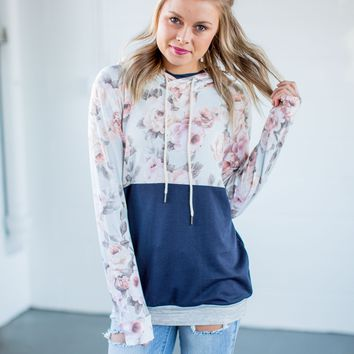 Navy & Floral Double Hoodie