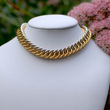 Gold and Silver Half Persian Dog / Cat Chainmaille Collar with Breakaway Safety Clasp - Ready To Ship
