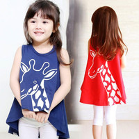 Girls Children Cartoon Giraffe Printing Vest Dress 5 pcs/lot Girls Baby Summer Sleeveless Irregular Dress Children's Dresses