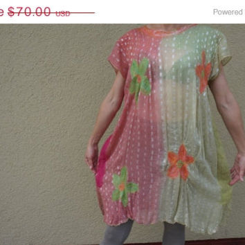 CLEARANCE SALE Felted Tunic Pink Green Viscose Flower Wool nuno felt One size Beach boho hippie Dress Blouse Lithuania Europe S M L small la