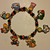 Paper Mario Thousand Year Door Charm Bracelet, Peach, Bowser