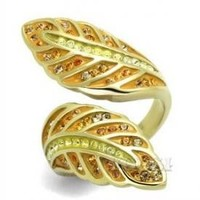 Multi Color Crystal Gold Leaf Bypass Stainless Steel Ring
