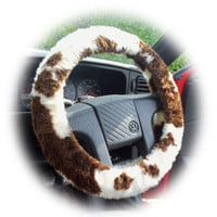 Fuzzy Brown and cream Cow print car steering wheel cover faux fur furry