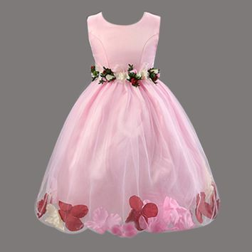 Retail Beautiful Flower Girl Dress Wit Peach Petal For Weddings Princess Dress Ball Gown Tulle Dress L101