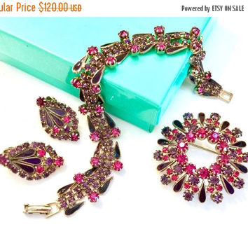 Weiss Demi Parure, Unique Bracelet Brooch and Earring Set, Dark Purple Enamel Fuchsia Garnet Red Rhinestones, Gold Tone, Designer Signed