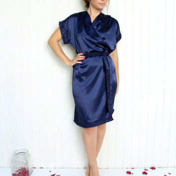 Navy Satin and Lace Bridal Robe, Blue Bridal Gown, Floral Lace Robe, Bridal Dressing gown