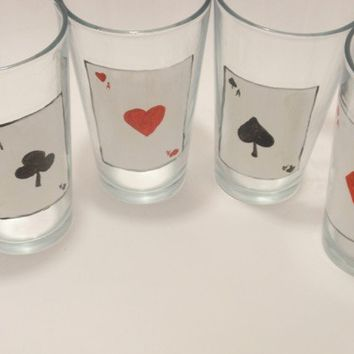 Aces Wild glass tumbler set by CrystallineDreams on Etsy