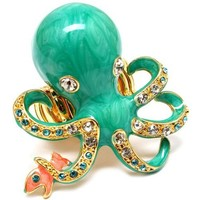 Oversize Octopus Ring Enameled Bejeweled with Crystals Stretch Band