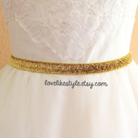 Skinny Gold Gltter Elastic Lace Belt, Bridal gold belt , Bridesmaid Gold Belt,  Sash Belt