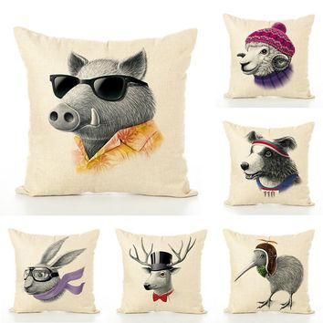 Cool Mr Animal Linen Pillow covers home hotel room Decorative soft throw massage pillow case 45*45cm