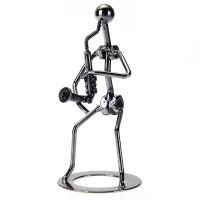 Steel Man Playing Saxophone Casting Model Creative Crafts Fashion Party Gift - Default