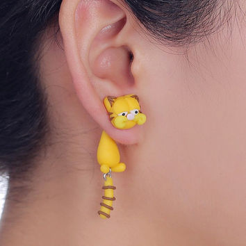 1pair Trendy 925 silver pin 100% Handmade Polymer Clay Cute Garfield Earrings Ear Stud fashion brincos jewelry