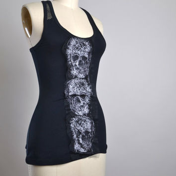 Skull Leather Tank Top - Summer Black Tank - Black Tank Top - Rocker Girl Halter - Rocker Tank