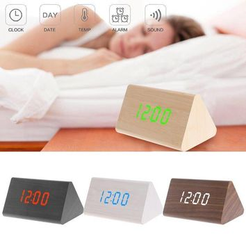 Modern Triangular Desktop LED Digital Wooden Alarm Clock And Thermometer