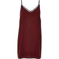 Dark red strappy slip dress - day / t-shirt dresses - dresses - women