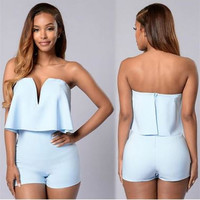 Women New Fashion Rompers And Jumpsuits Women Sexy Deep V Neck #9 Sleeveless Playsuit Bodysuits Elegant Club Jumpsuits