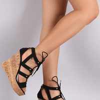 Qupid Cutout Straps Cork Wedges