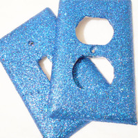 Glitter Single-Switch Light Switch Plate or Outlet Cover in Royal Blue / Dark Blue -- College Dorm -- Girl's Bedroom Decor - Great Gift
