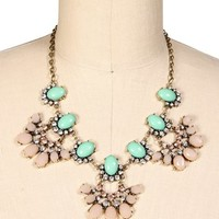 Mint Epoxy Rhinestone Statement Necklace Set
