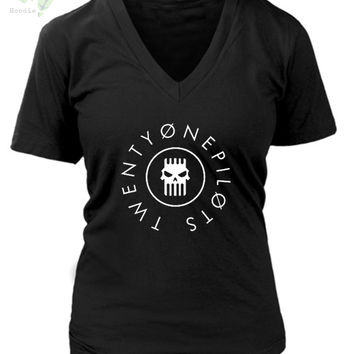 Twenty One Pilots Logo Tattoo Womens V-Neck