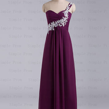 Custom A-line One-shoulder Floor-length Sleeveless Chiffon Popular Prom Dress Bridesmaid Dress Evening Dress Party Dress 2013 With Applique