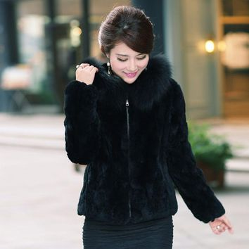 Fashion Ladies Fox Fur Collar Rabbit Fur Coat With Hood For Women Casual Plus Size 5XL Winter Jackets Faux Fur Bolero Hooded