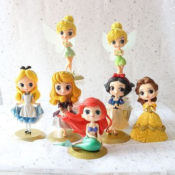 11-15cm Princess figure doll Q Posket Snow White Alice in Wonderland Ariel Mermaid Tinkerbell Jasmine PVC Figure Model Toy