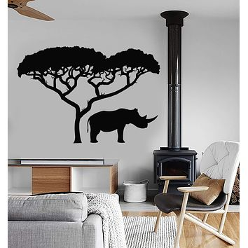 Vinyl Wall Decal Rhino African Nature Tree Landscape Animal Stickers Mural Unique Gift (ig4960)