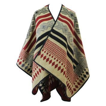 Reversible Tribal Print Ruana