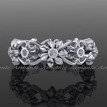Floral Wedding Band, White Gold Diamond Wedding Ring Band