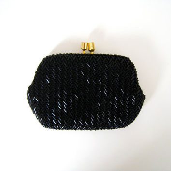 Vintage Black Beaded Coin Purse with Gold by CutandChicVintage