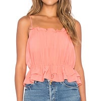 Tayane Ruffle Tank in Rose