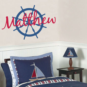 Personalized Name Vinyl Nautical Wall Decal - Sailboat Ship Wheel - Baby Boy Nursery Toddler Teen Room 22H x 36W BN003