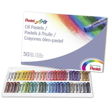 Pentel Arts Oil Pastels 50 Color Set (PHN-50) 50 Count