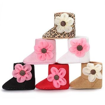 Winter Toddler Girl Cotton Crib Warm Shoes Newborn Baby Flower Soft Sole Boots Sneakers