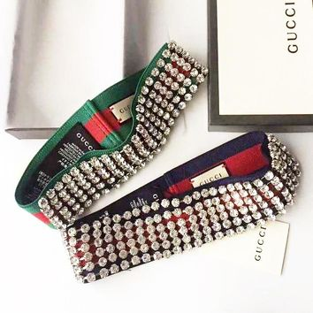 GUCCI Fashion Trending Women Diamond Crystals Headband Accessories Hair Band G