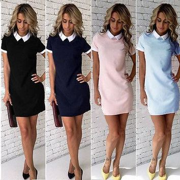 Ladies Women Summer Casual Short Sleeve Peter Pan Collar Evening Party Straight Office Dress White Doll Collar Short Mini Dress