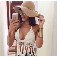 Crochet Bikini Halter Crop Top Bra Summr Beachwear Fringe Swimsuit