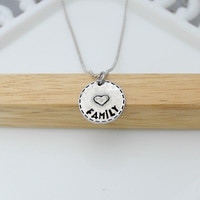 Hand Stamped Jewelry / Pewter Family Necklace / Personalized Pendant Necklace