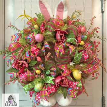Easter Bunny Pink/Green Deco Mesh Wreath